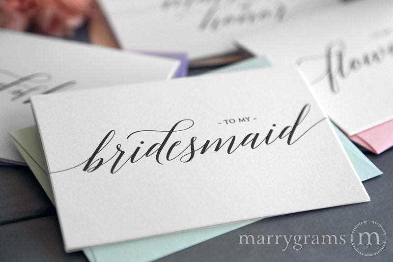 To My Bridesmaid wedding day thank you Card Delicate Style