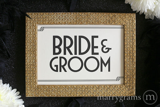 Bride and Groom Sweetheart Table Sign Deco Style