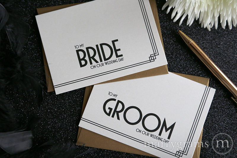 To My Bride or Groom Wedding Day Card Deco Style