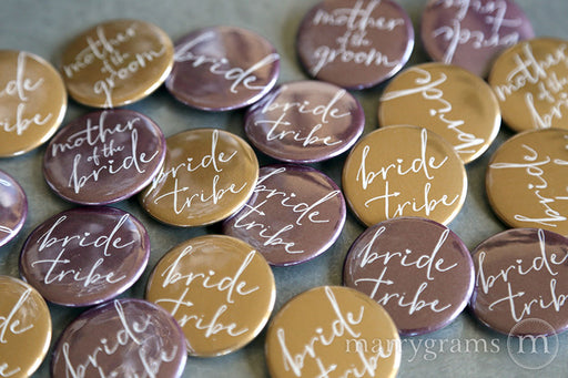 Bride Tribe Bridal Party Buttons plum and gold