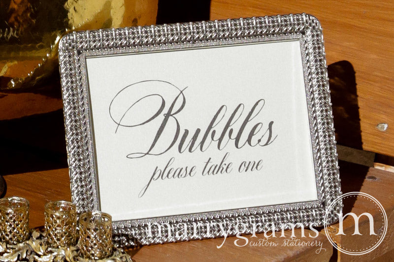 Wedding Bubbles Send Off Sign Calligraphy Style