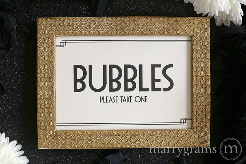 Wedding Bubbles Send Off Sign Deco Style