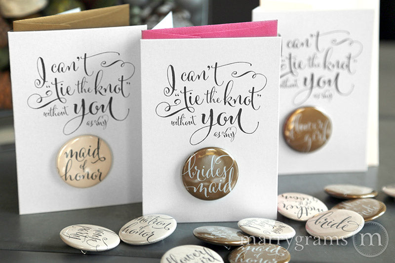 I Can't Tie the Knot Without You Button Cards
