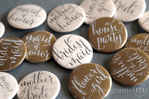Bridal Party Buttons Whimsical Style