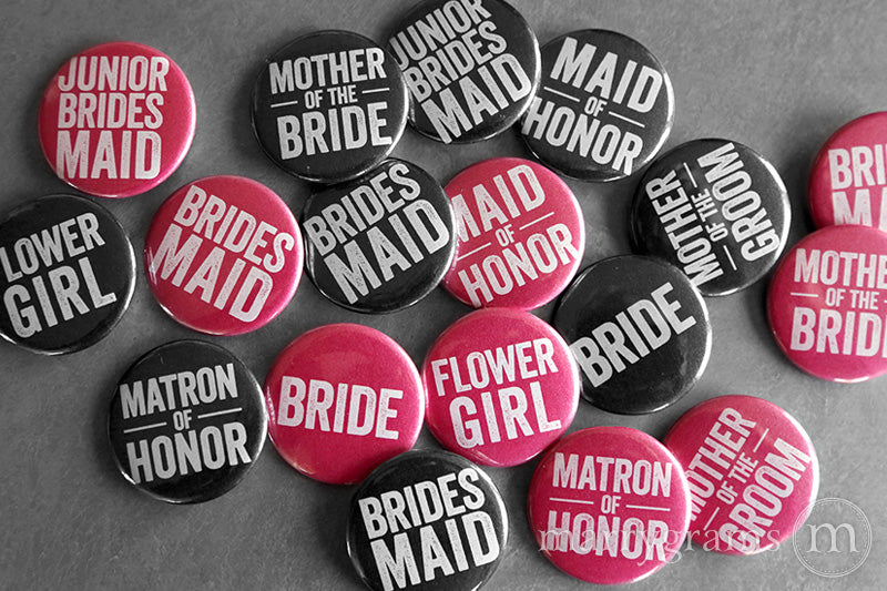 Bridal Party Buttons Hot Pink & Black - bride, mother of the bride, mother of the groom, bridesmaid, maid of honor, matron of honor, junior bridesmaid, flower girl