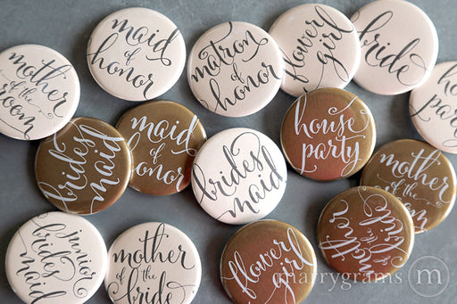 Bridal Party Buttons whimsical style blush and gold - bride, mother of the bride, mother of the groom, bridesmaid, maid of honor, matron of honor, junior bridesmaid, flower girl