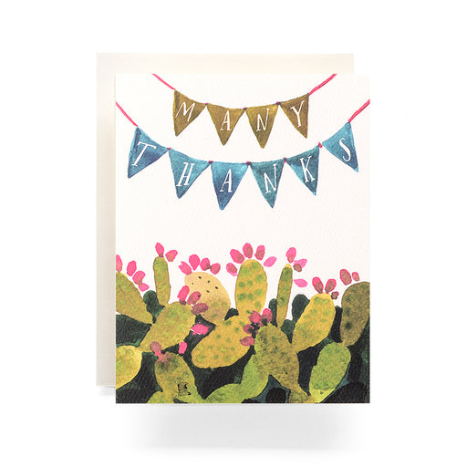 "Cactus Pennant ""many thanks"" Thank You Card"