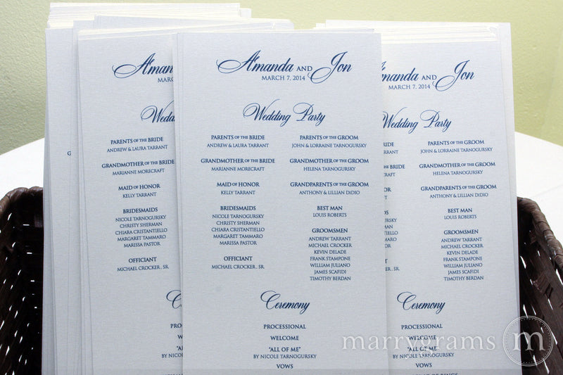 Flat Wedding Program Calligraphy Style