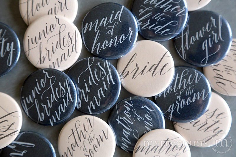 Bridal Party Buttons Delicate Style - mother of the bride and groom, bride, maid of honor, matron of honor, junior bridesmaid, flower girl, bridesmaid buttons