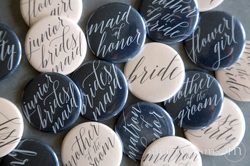 Bridal Party Buttons Delicate Style