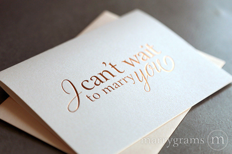 rose gold Foil I Can't Wait To Marry You Wedding Day Card to my bride or groom