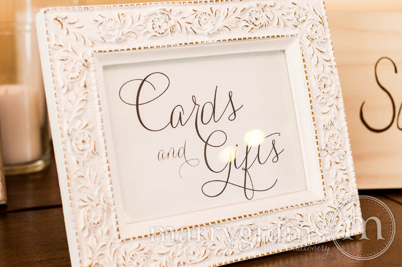 Cards and Gifts Wedding Reception Sign Thin Style