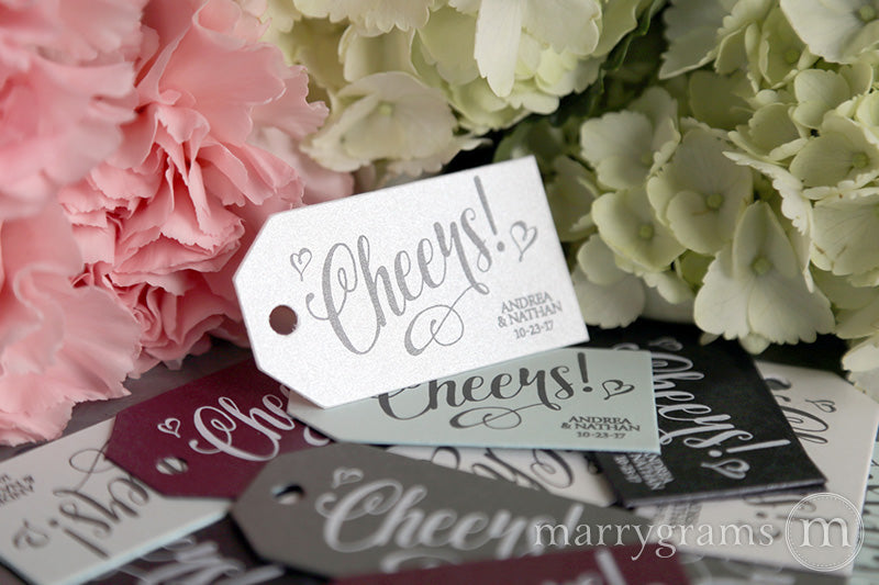 Cheers! Personalized wedding Favor Tag Romantic Style