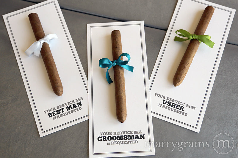 Your Service is Requested Groomsman Cigar Card Block Style