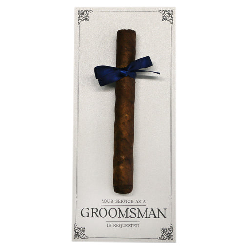 Your Service is Requested as My Groomsman Cigar Cards Created by Marrygrams for Groomsmen, Best Man, Usher & Wedding Party