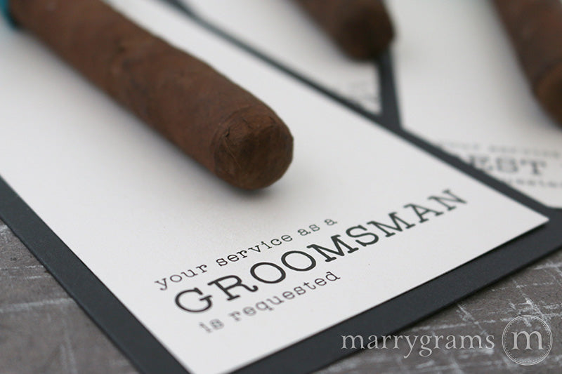 Modern Lines Service Requested Groomsman Cigar Card
