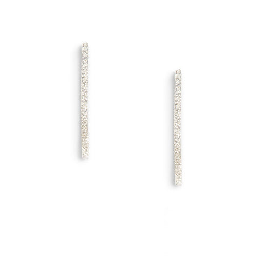 Diamond Dusted Medium Column Stud Earrings