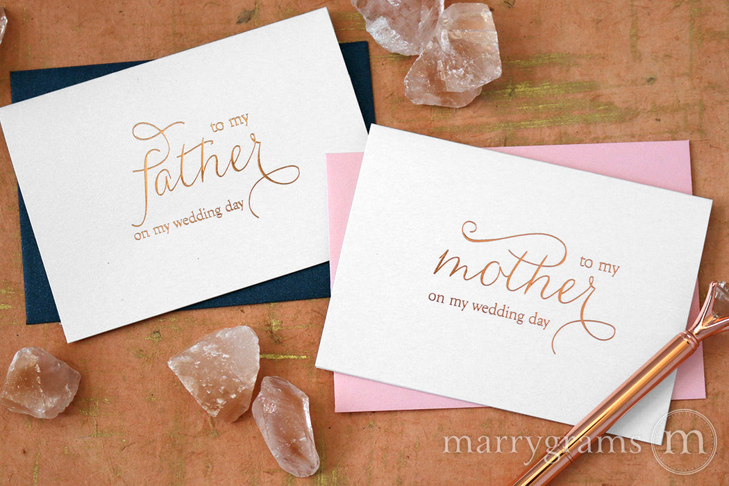 Rose Gold Foil to my Father to my Mother on My Wedding Day Card