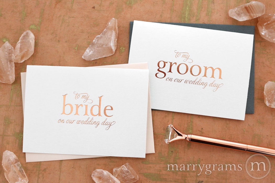 Rose Gold Foil Groom on Our Wedding Day Card