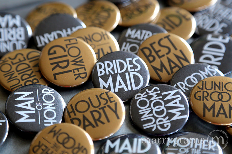 Bridal Party Buttons Deco Style - mother of the bride and groom, bride, maid of honor, matron of honor, junior bridesmaid, flower girl, bridesmaid buttons