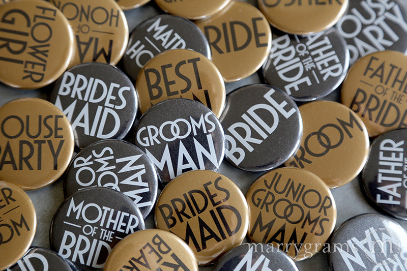 Bridal Party Buttons Deco Style