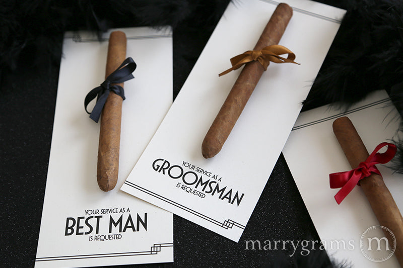 Art Deco Groomsman Cigar Cards Created by Marrygrams for Groomsmen, Best Man, Usher & Wedding Party