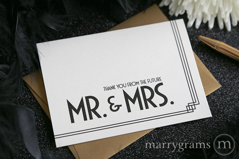 Thank You from the Future Mr. & Mrs. Cards Deco Style