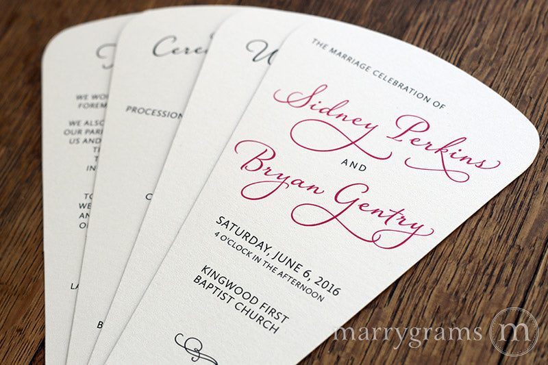 4 Blade Petal Wedding Program Fan Diagonal Style