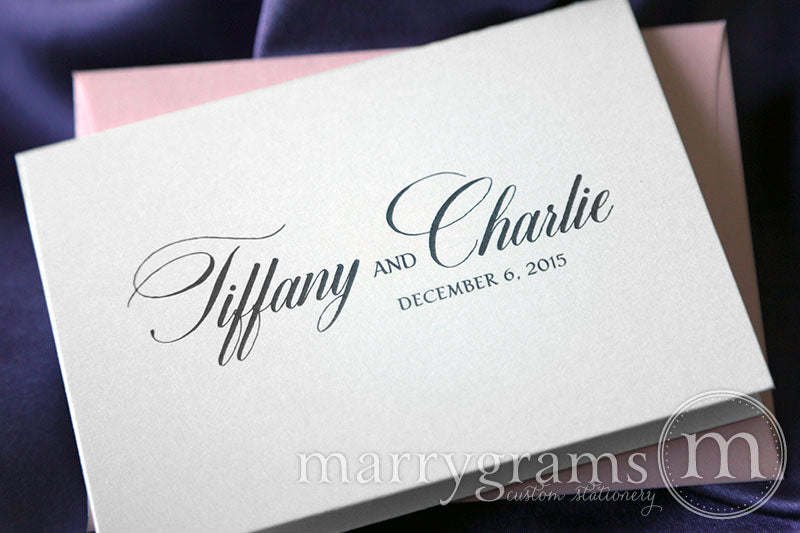 Custom Name & Date Wedding Thank You Card Calligraphy Style