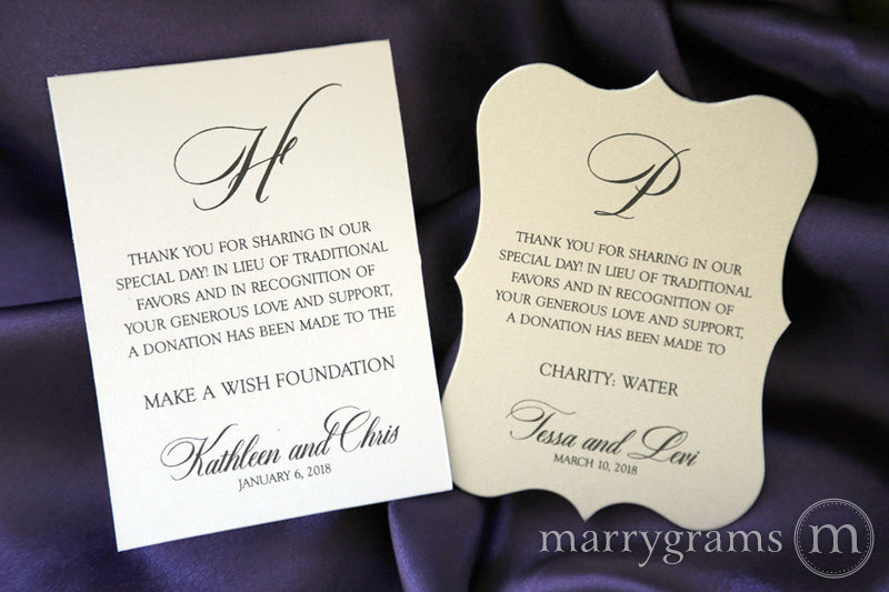 Initial In Lieu of Traditional Favors Donation Card Calligraphy Style