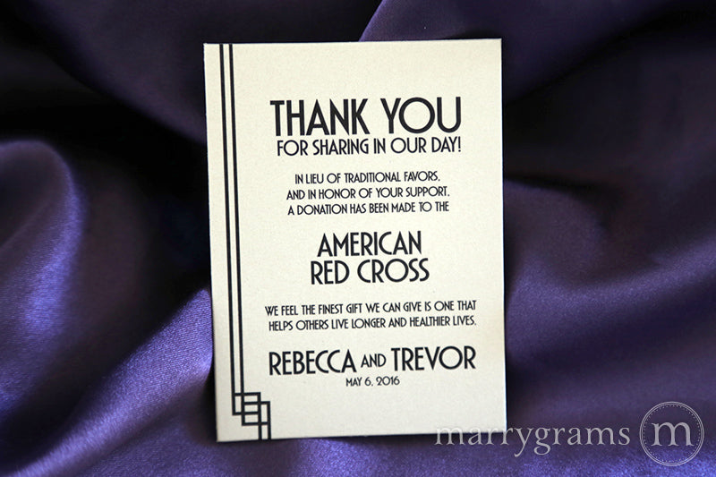 In Lieu of Traditional Favors Donation Card Deco Style