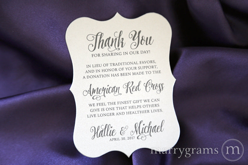 In Lieu of Traditional Favors Donation Card Romantic Style