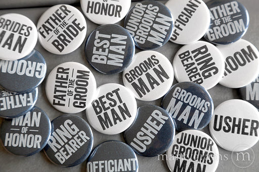 Guy Style Bridal Party Buttons
