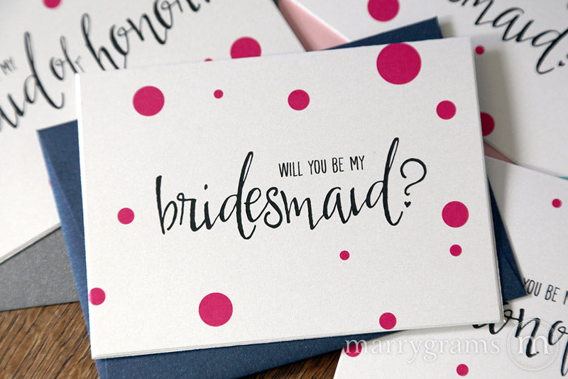 Be My Bridesmaid Cards Dot Style