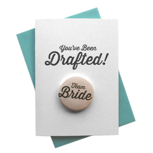 You've Been Drafted wedding party Button Cards