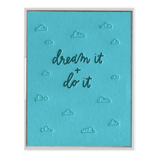 Dream It and Do It encouragement cloud letterpress  Card