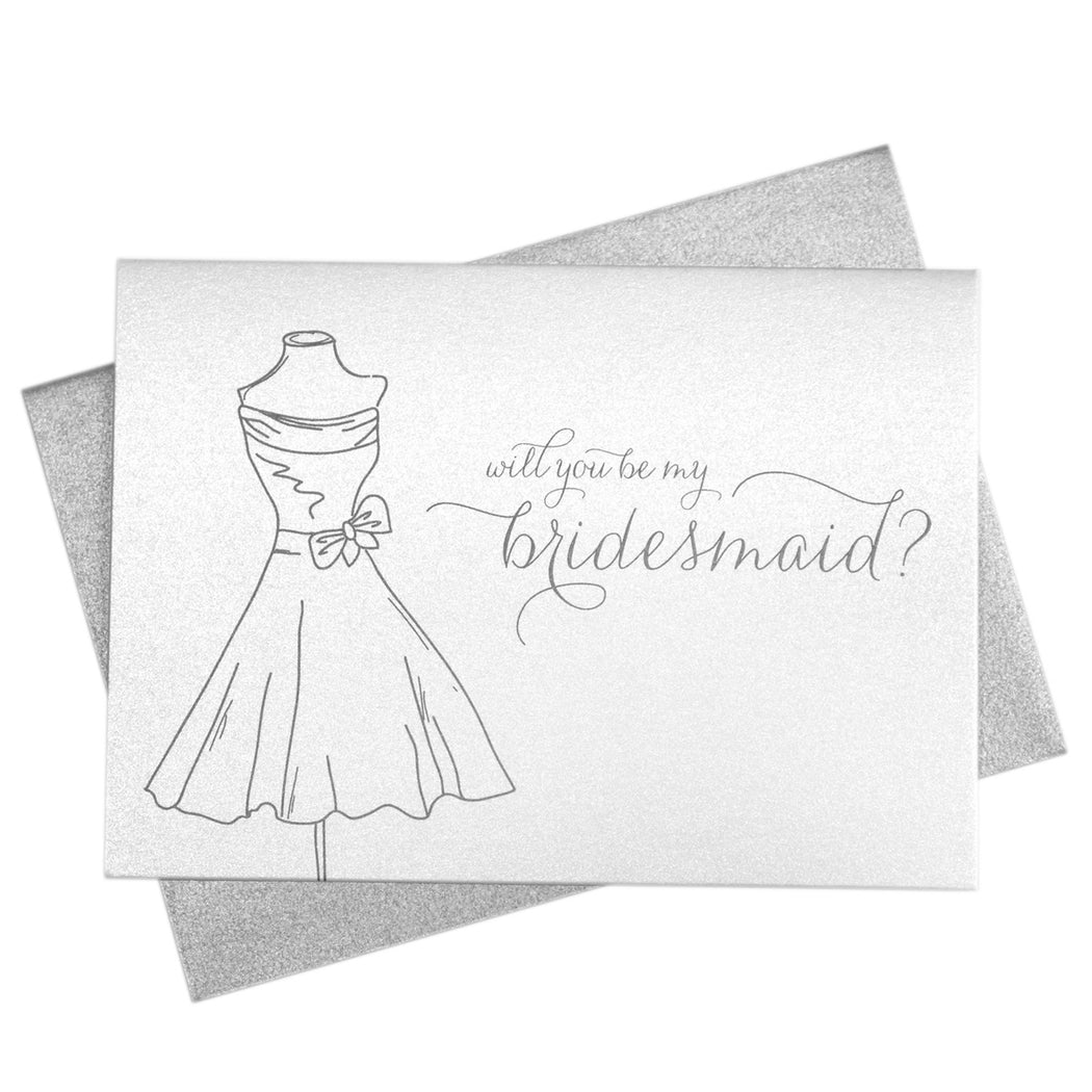 Will You Be My Bridesmaid Card Thin Style with Dress