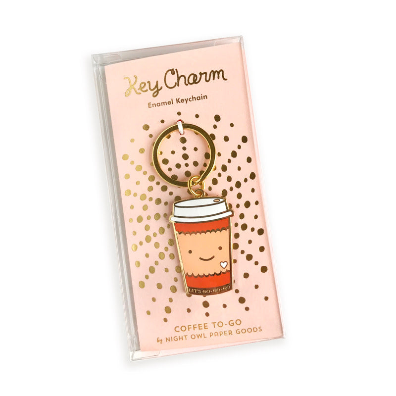 Smiling Coffee To Go Cup Enamel Keychain