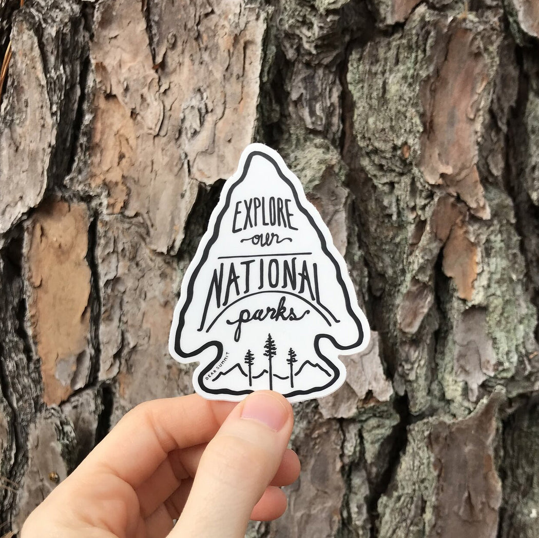 Explore Our National Parks  Arrow Head Vinyl Sticker