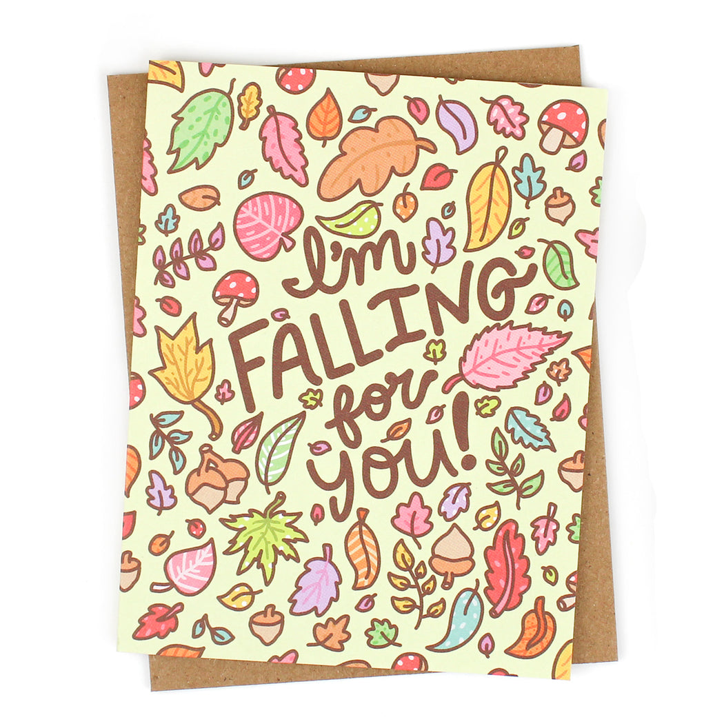 I'm Falling for You Leaves Card