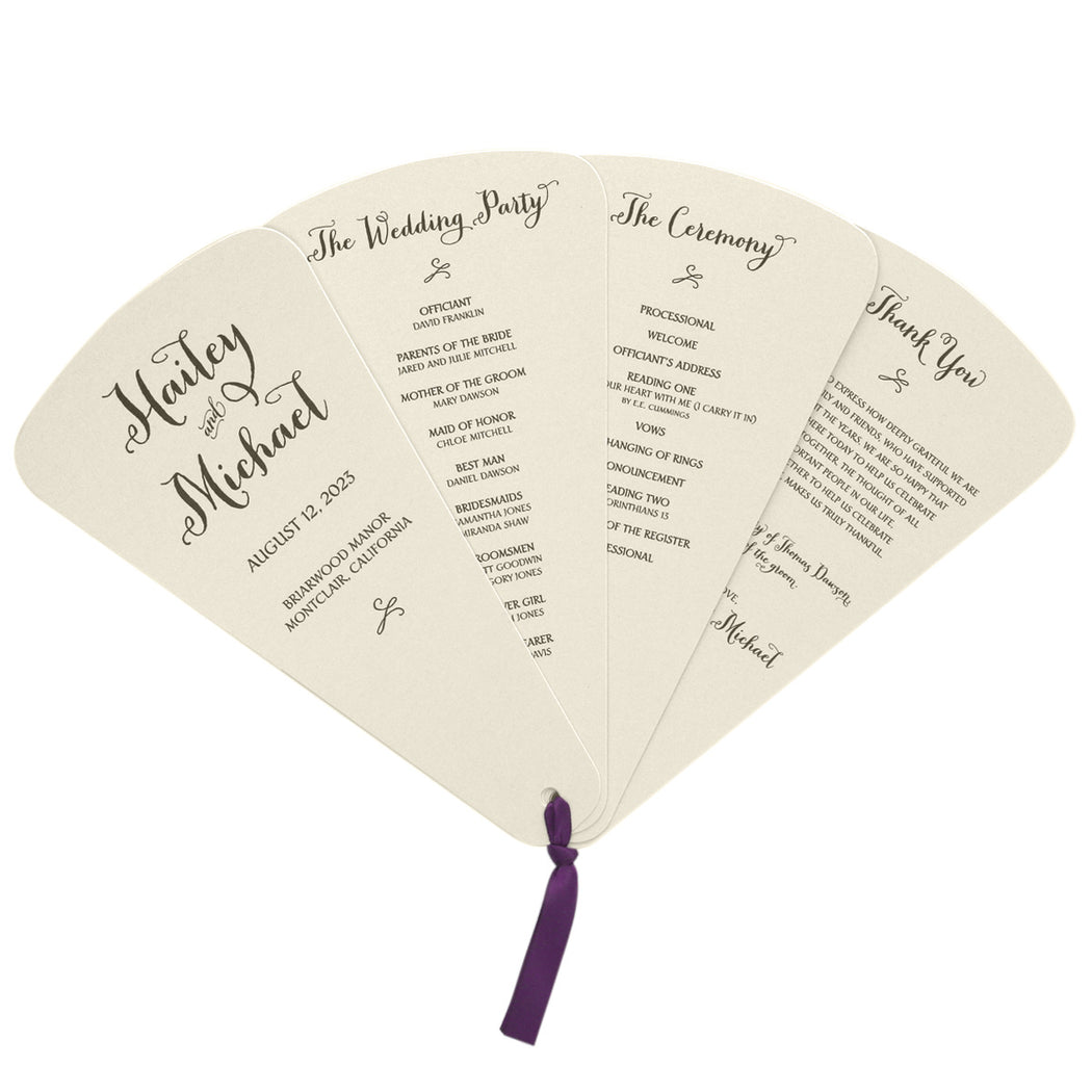 4 Blade Petal Wedding Program Fan Thick Style Rustic Wedding Style