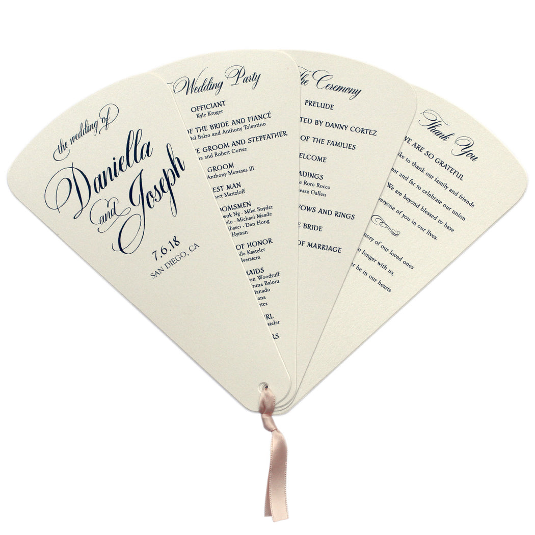 4 Blade Petal Wedding Program Fan Calligraphy Style