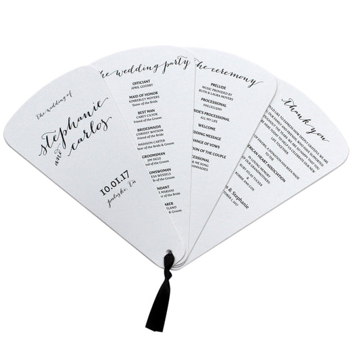 4 Blade Petal Wedding Program Fan Handwritten Style