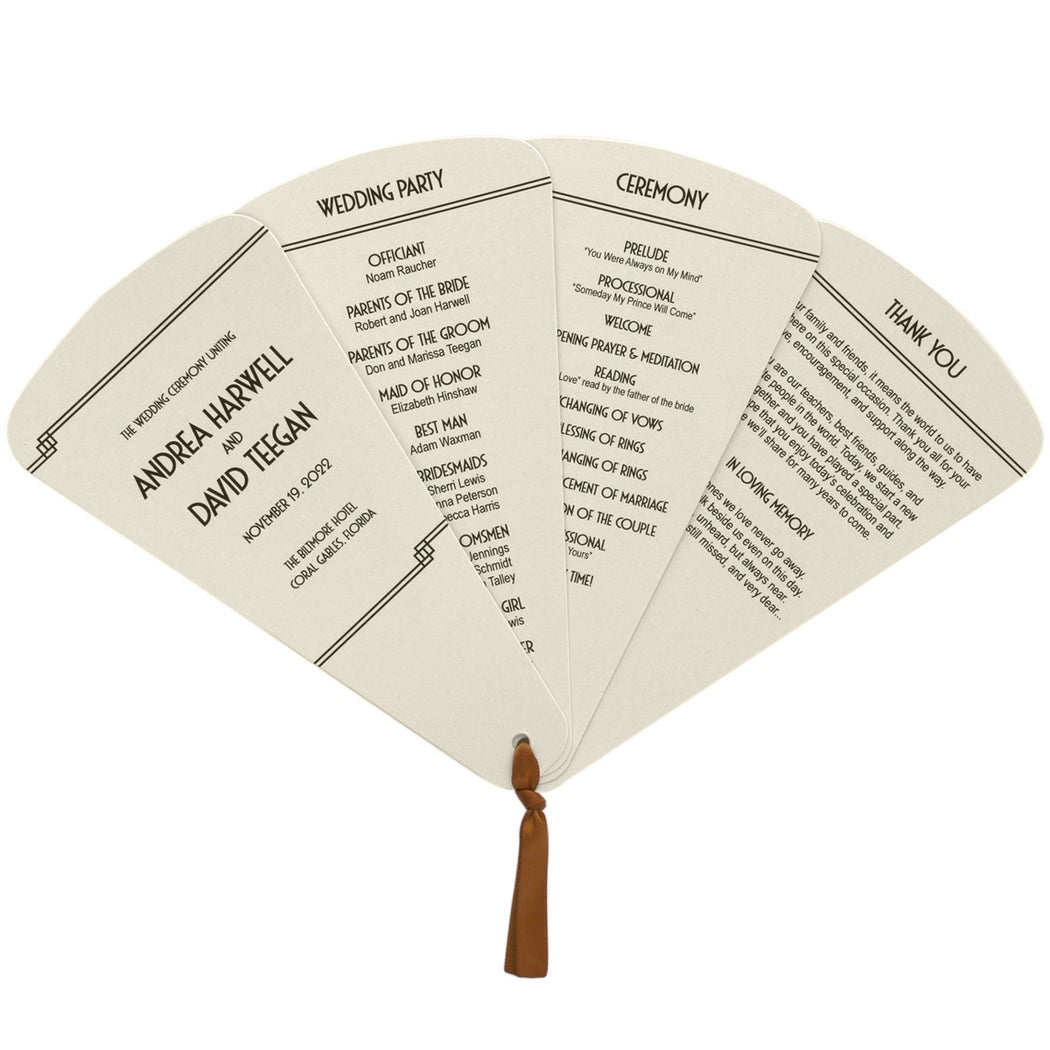 4 Blade Petal Wedding Program Fan Deco Style
