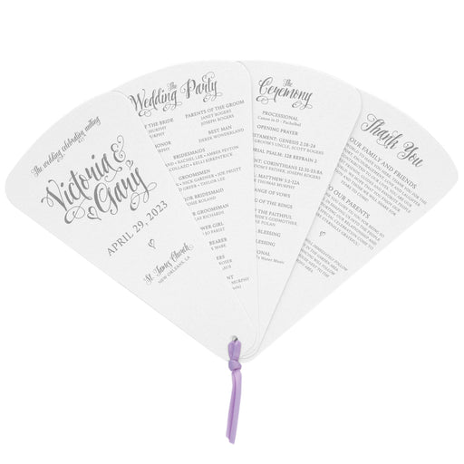 4 Blade Petal Wedding Program Fan Romantic Style Fairy Tale Wedding