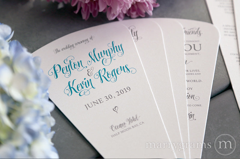 4 Blade Petal Wedding Program Fan Romantic Style