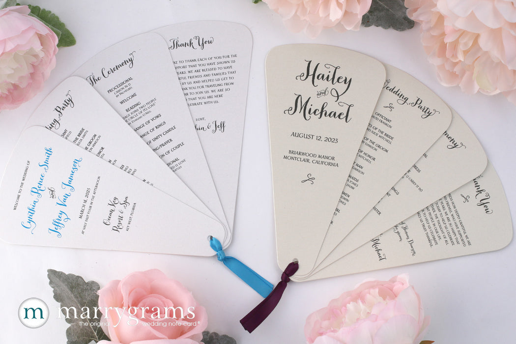 4 Blade Petal Wedding Program Fan Thick Style