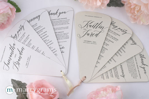 4 Blade Petal Wedding Program Fan Delicate Style