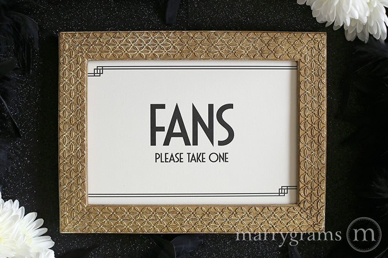 Fans Wedding Sign Deco Style