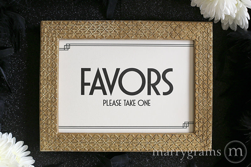 Wedding Favors Sign Deco Style great gatsby 1920s wedding